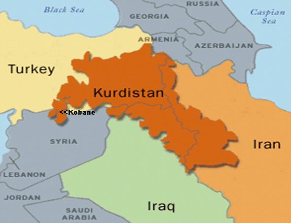 La ciudad de Kobane en la frontera con Turquía. El territorio del pueblo kurdo fue repartido entre cuatro estados.