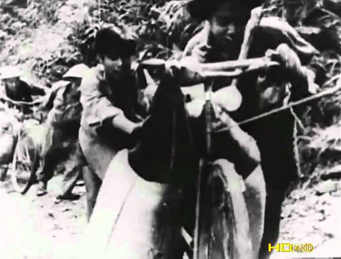 En medio de la selva y las montañas, transportando armas y municiones en bicicletas.