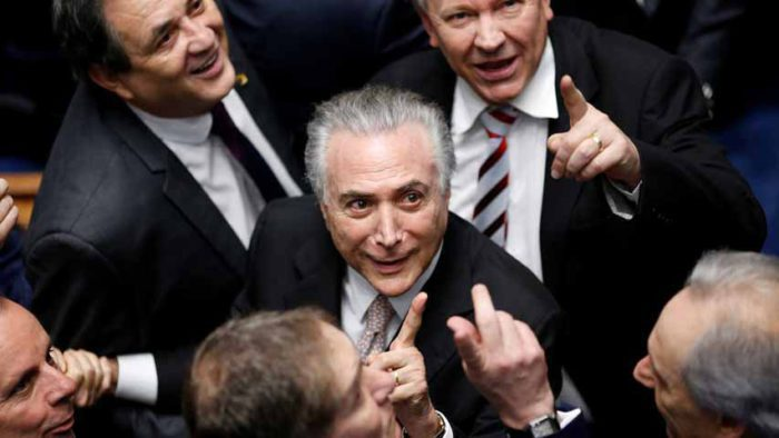 Brazil's new President Michel Temer reacts during the presidential inauguration ceremony after Brazil's Senate removed President Dilma Rousseff in Brasilia, Brazil, August 31, 2016.  REUTERS/Ueslei Marcelino